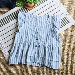 Tops - Striped Blouse with Flutter Sleeves